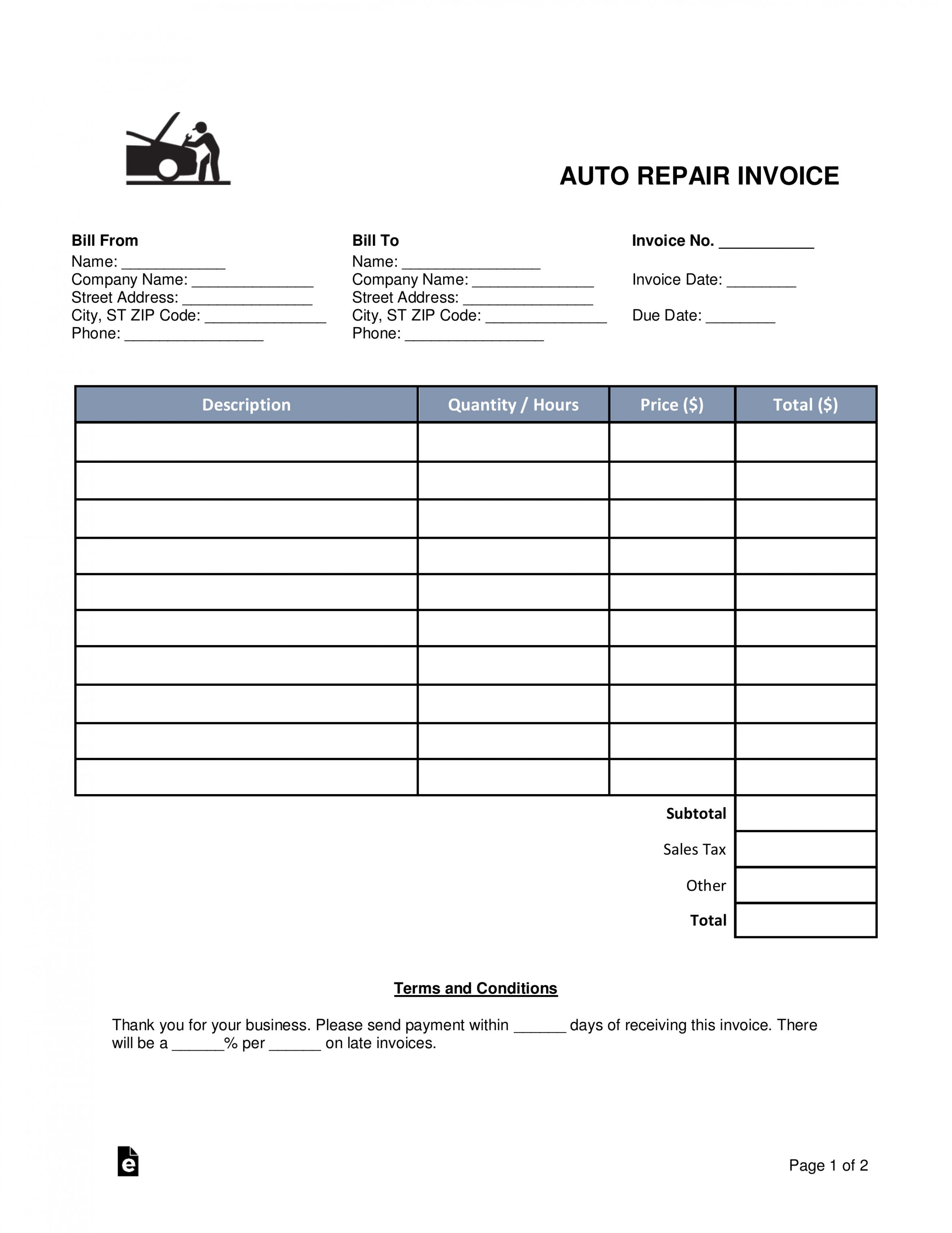 Get Our Image Of Auto Body Work Order Template For Free Invoice Template Invoice Template Word Estimate Template
