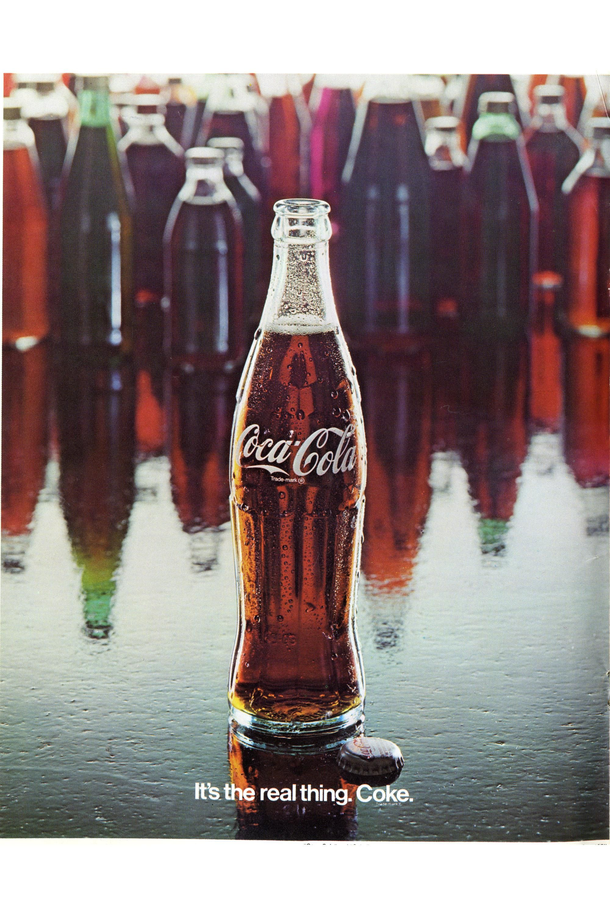 COCA COLA SLOGAN GLASS Drinking Coke Trademark It Is Always Real Thing L ike New