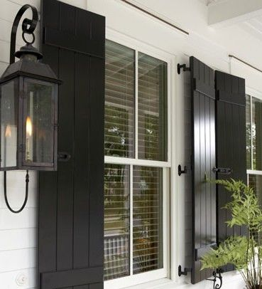 Sugarberry Cottage Gas Lanterns On Front Porch Black Shutters