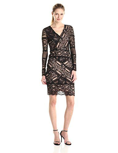 Nicole Miller Women's Stretch Lace V Neck Long Sleeve Dress - http://darrenblogs.com/2015/12/nicole-miller-womens-stretch-lace-v-neck-long-sleeve-dress/