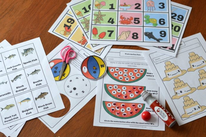 Summer Fun Printable Pack Calendar Numbers Fish Matching Game And