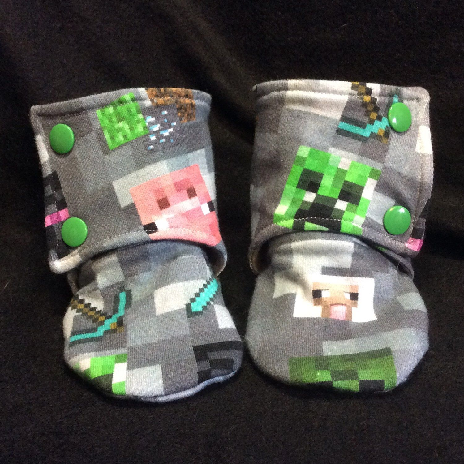 Minecraft booties, for the little gamer sidekick in your life! =)