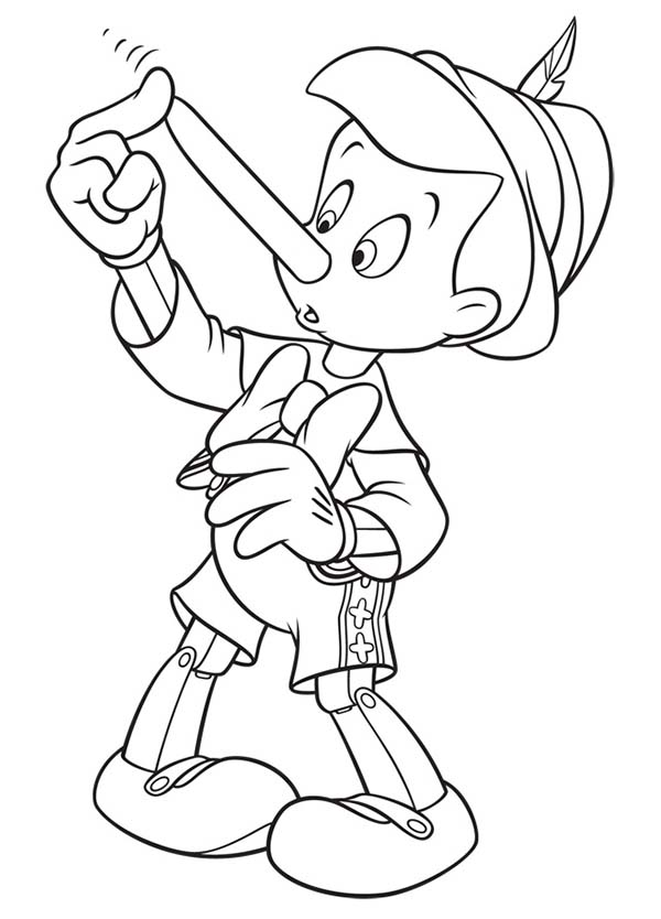 Pinocchio Touch His Nose Coloring Pages Bulk Color Cartoon Coloring Pages Easy Cartoon Drawings Coloring Pages