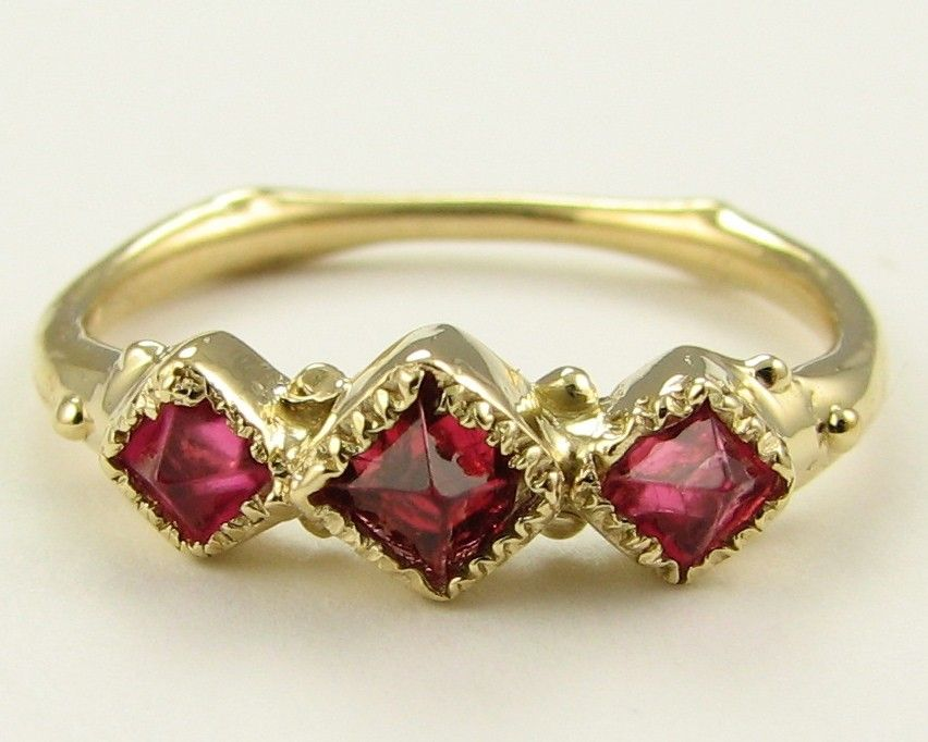 Ancient: Red Spinel and 18k. $1,200.00, via Etsy.