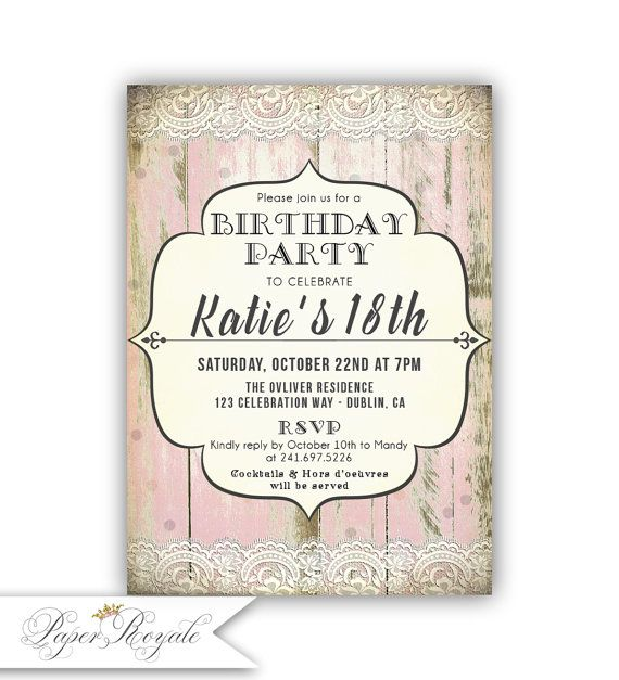 Teen Birthday Party Invitations For a Teenage girl Young Teen