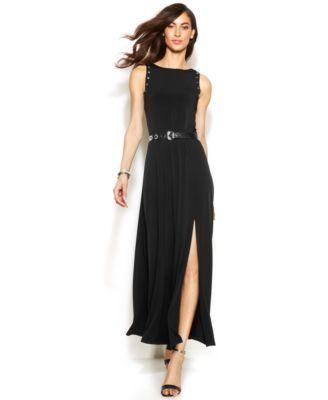 MICHAEL Michael Kors Grommet-Trim Belted Maxi Dress