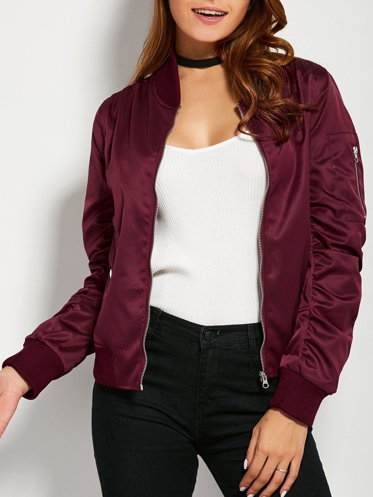 Pockets Bomber Jacket - BURGUNDY S