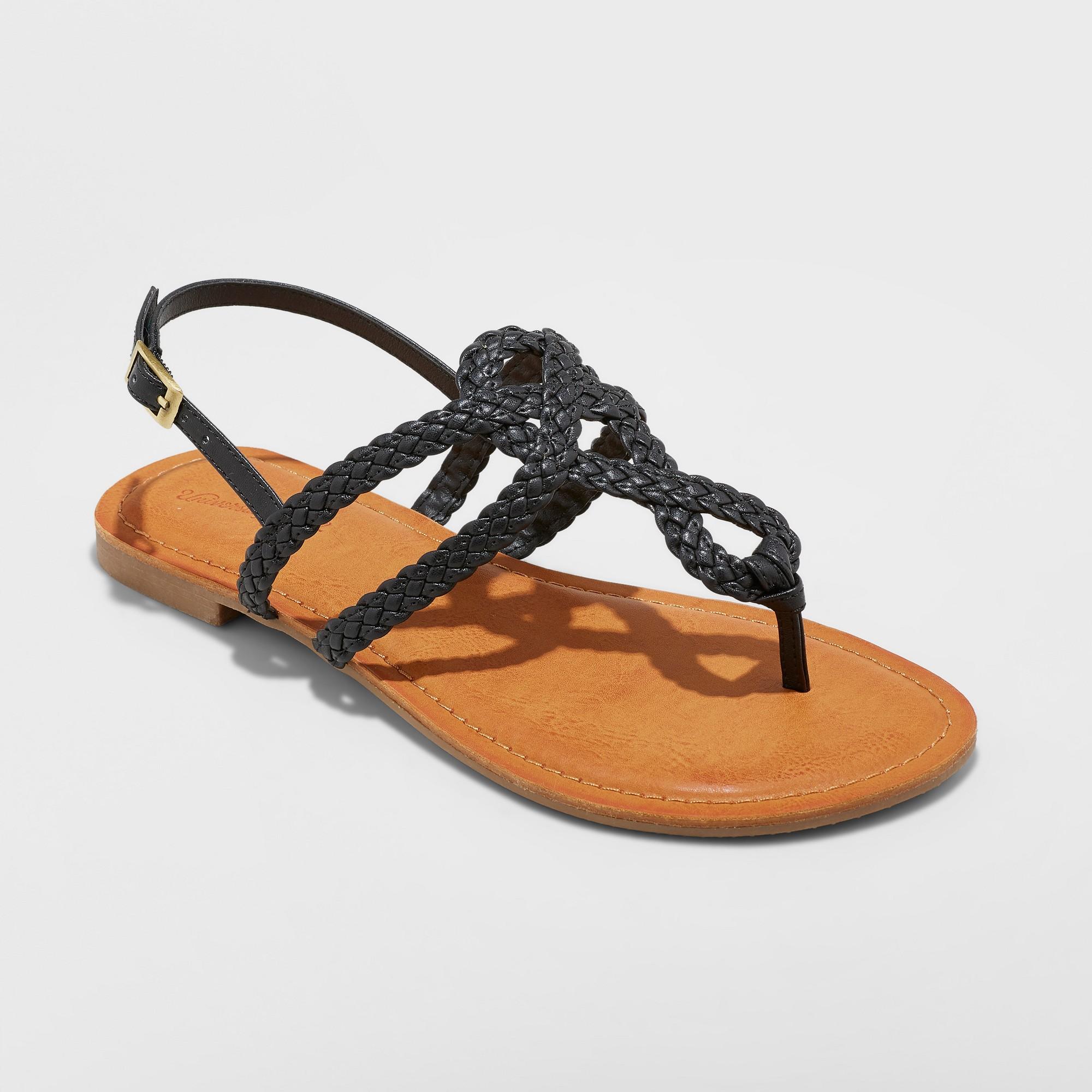 16119bd417f Women s Jana Braided Wide Width Thong Ankle Strap Sandal - Universal Thread  Black 8.5W