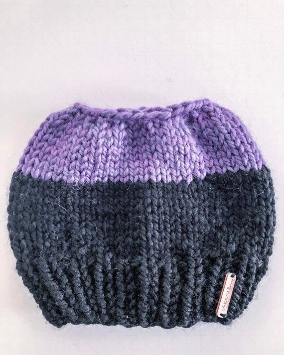 messy bun ponytail beanie hat for women/knit winter chunky toque/black and violet/trendy/chic/hipste
