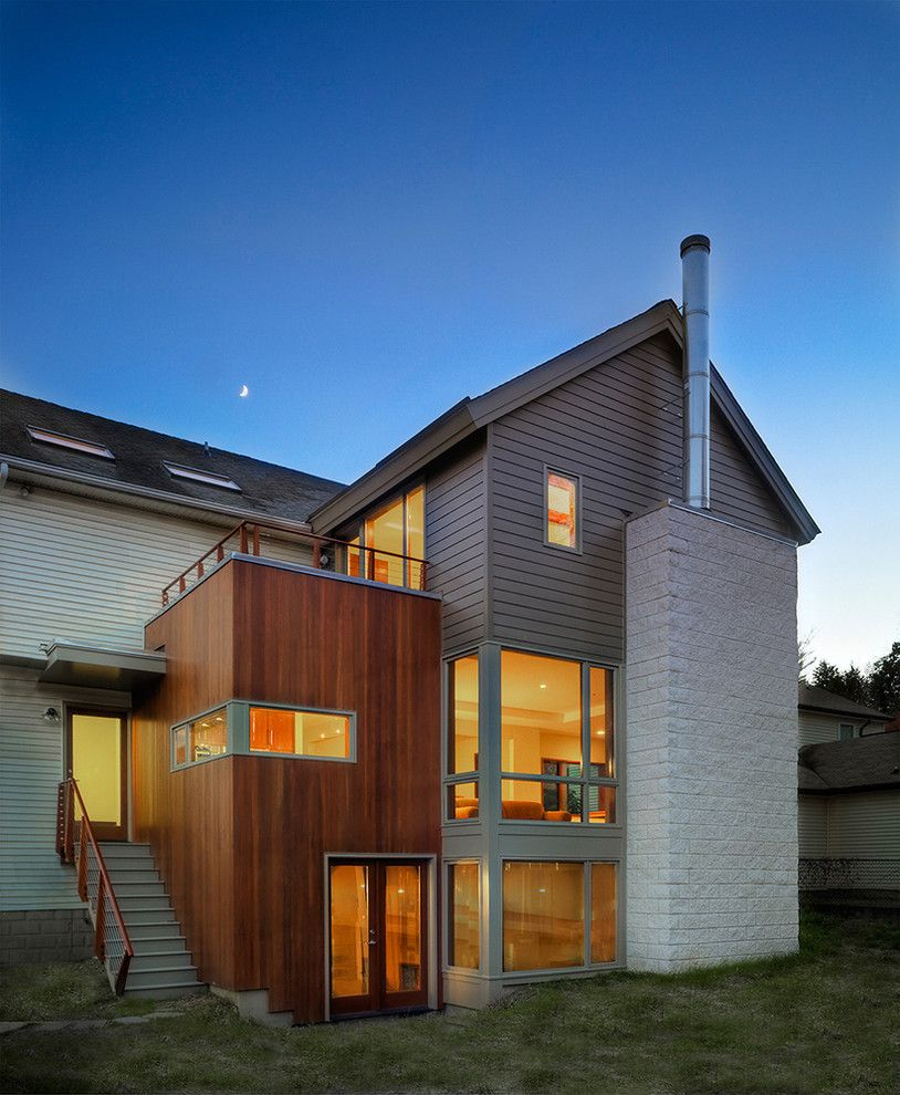 Modern House Exterior Materials: Hardi Plank Exterior Contemporary With Balcony Chimney