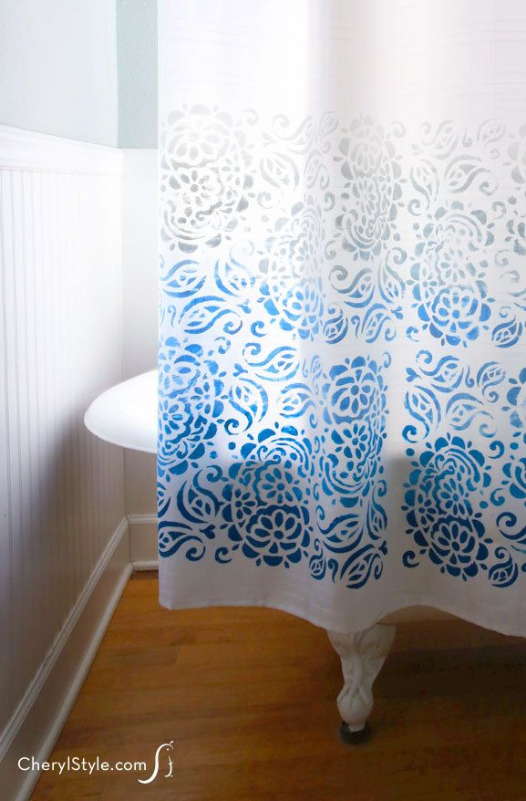 Stencil A Design Onto A Plain White Shower Curtain In Your
