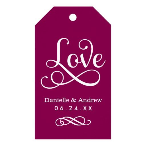 Wedding Favor Tags | Love Script in Raspberry Red Pack Of Gift Tags