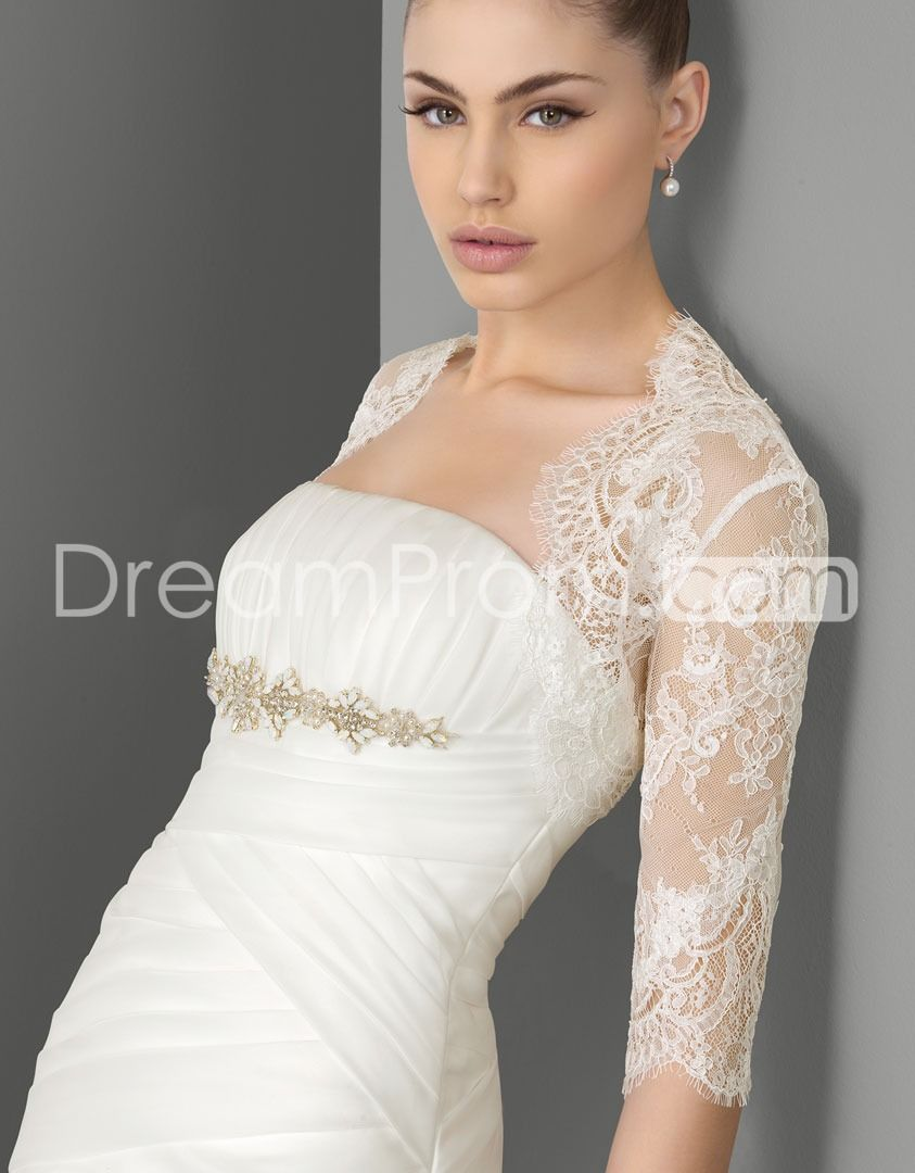 Beadind under breast L us shipping pretty half sleeves lace wedding ...