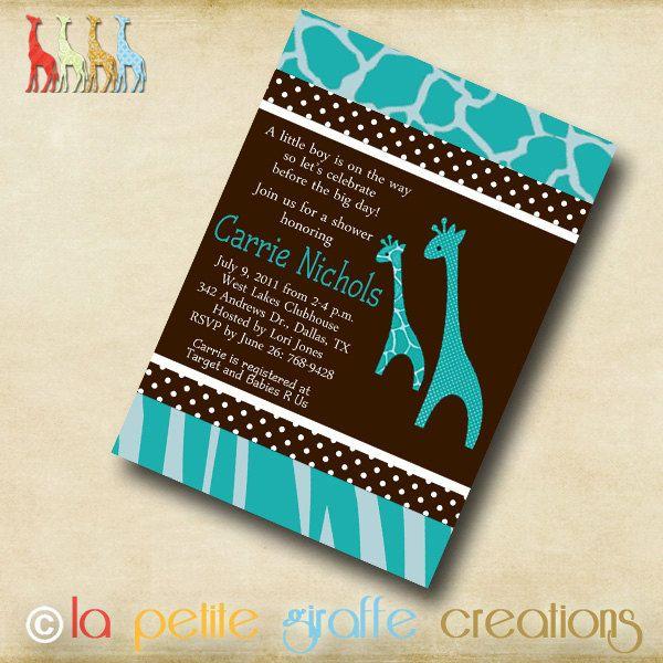 Printable Baby Shower Invitation Blue Giraffe by LaPetiteGiraffe
