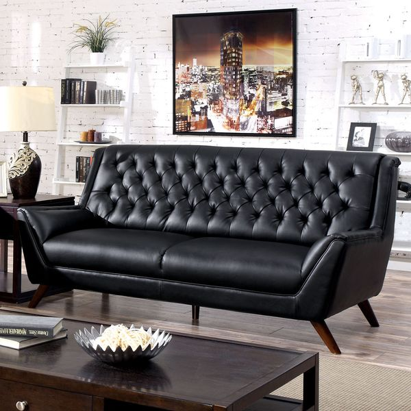 Furniture Of America Valentino Mid Century Modern Bonded Leather Sofa    Overstock™ Shopping