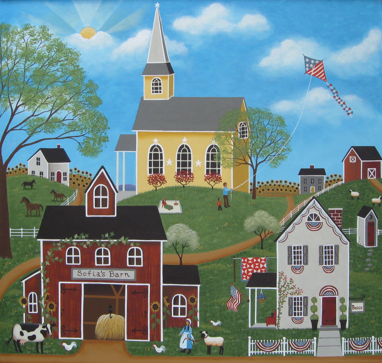 Cheap Driving Lessons >> Sofia's Summer Folk Art Painting by Mary Charles   Folk art, Americana art, American folk art
