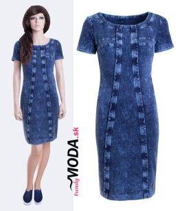 Dámske džínsové šaty z pohodlného materiálu s prímesou elastanu v dĺžke po  kolená - trendymoda.sk 5eea82884cc
