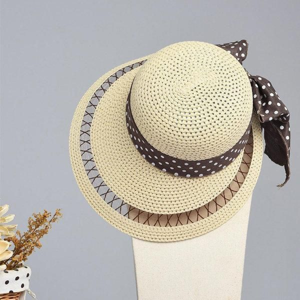 bc2e164075f61 LYZA Women Summer Hollow Wide Brim Beach Sun Hat Casual Travel Visor Panama Straw  Hat
