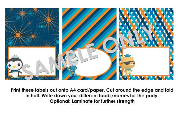 Octonauts Party Food Label Template by ArtworkByAnti on Etsy ...