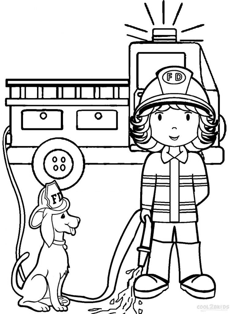 preschool coloring pages fire woman, fire truck and fire dog ...