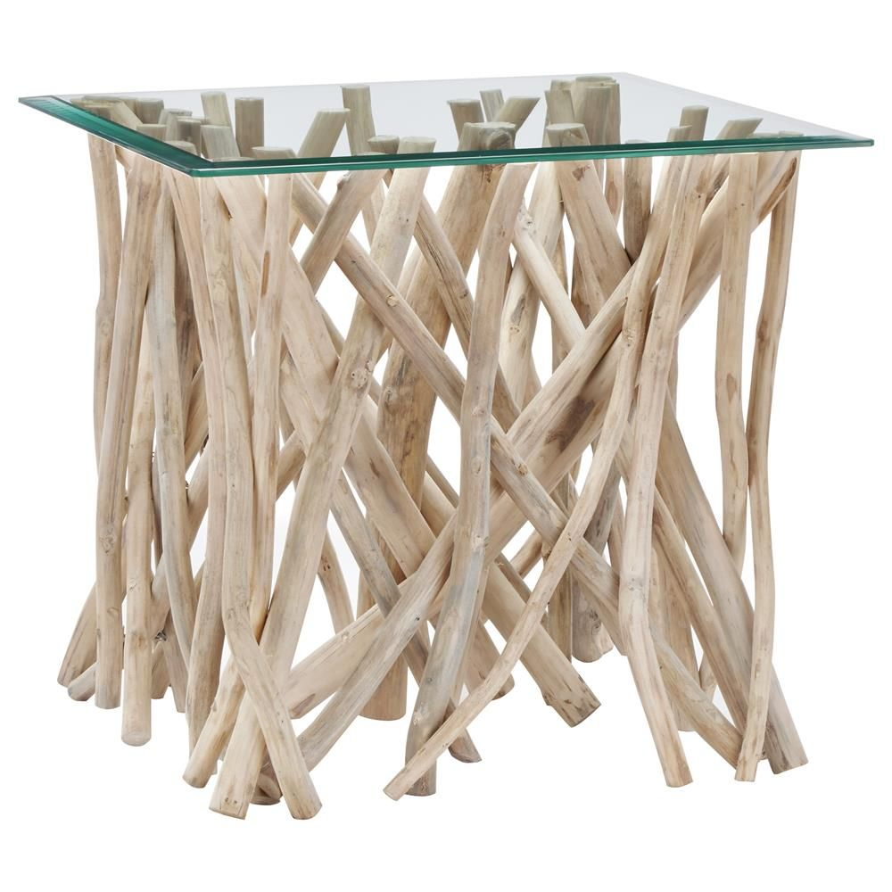 Atelier Coastal Retreat Glass Top Side Table With Teak Branch Base Coffee Tables Side