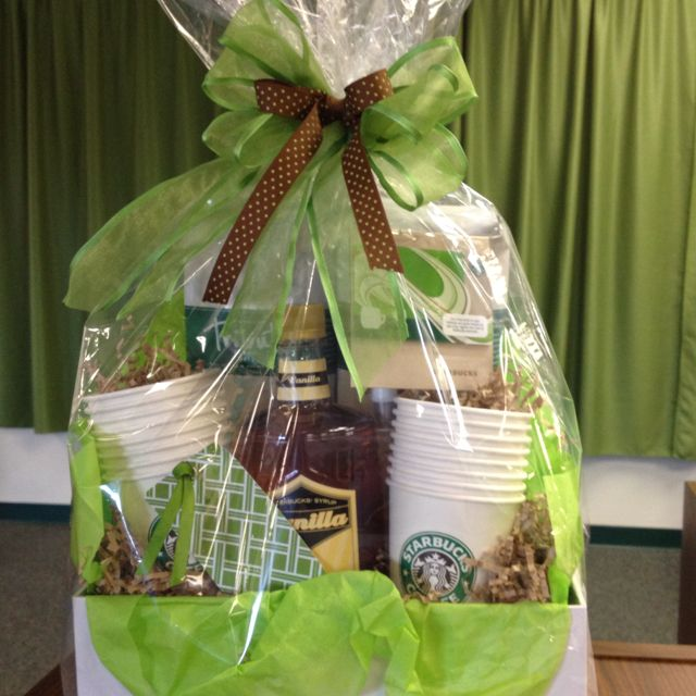 Photo box....cheap and cute for a gift basket!!! This was a Starbucks basket I did for a Relay for Life silent auction.