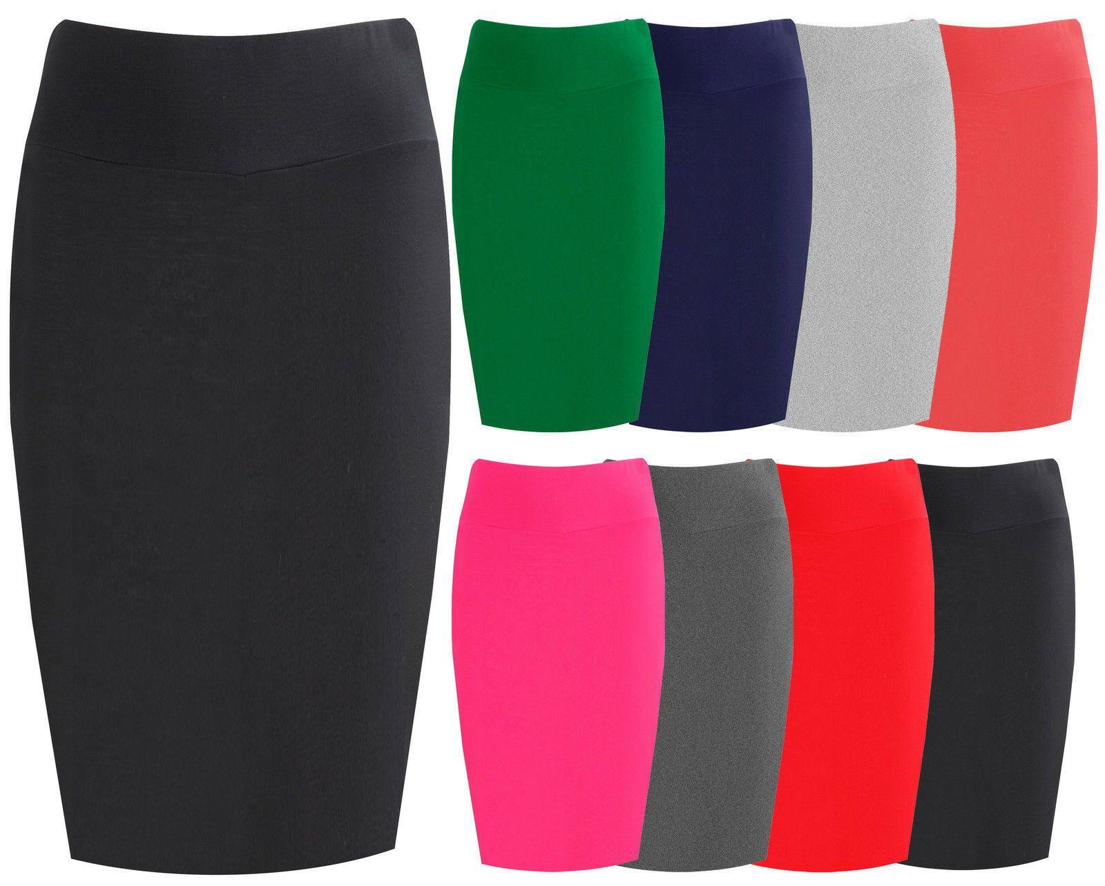 Women/'S Ladies Plain Office Bodycon MIDI PINCLE Skirt