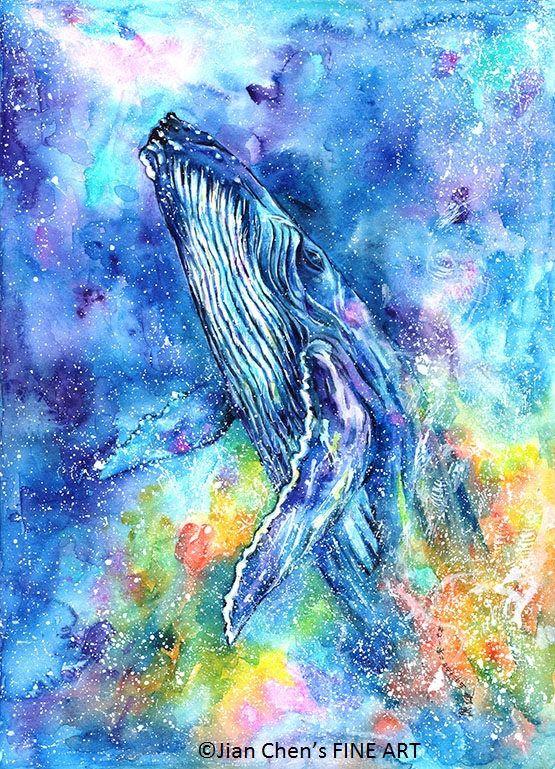 humpback whale mounted original painting Акварель