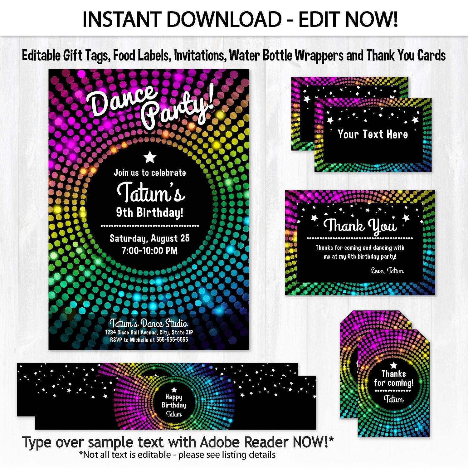 Dance Party Invitations Disco Dance Birthday Invitations Disco