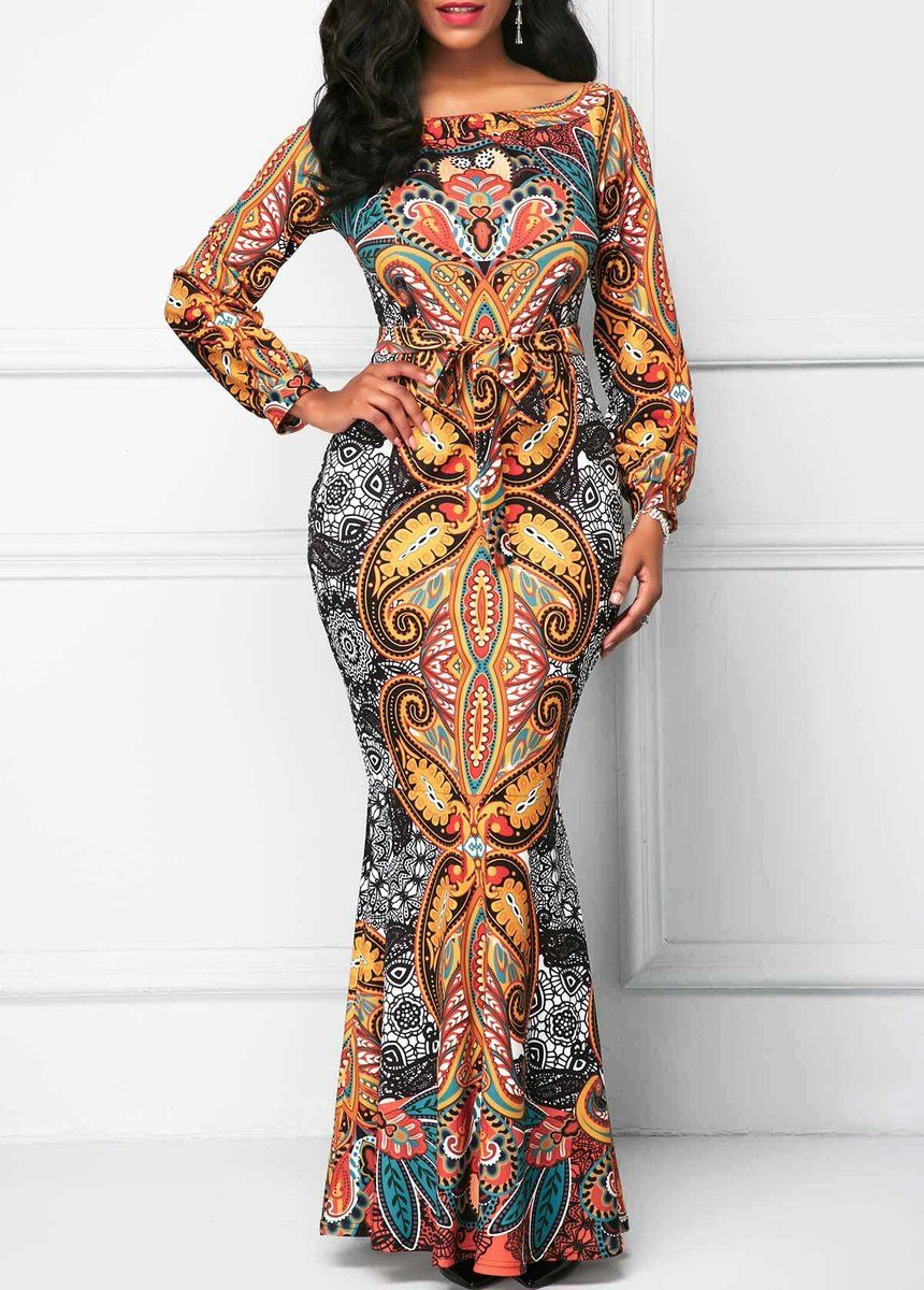 Rosebud long sleeve belted printed mermaid maxi dress african