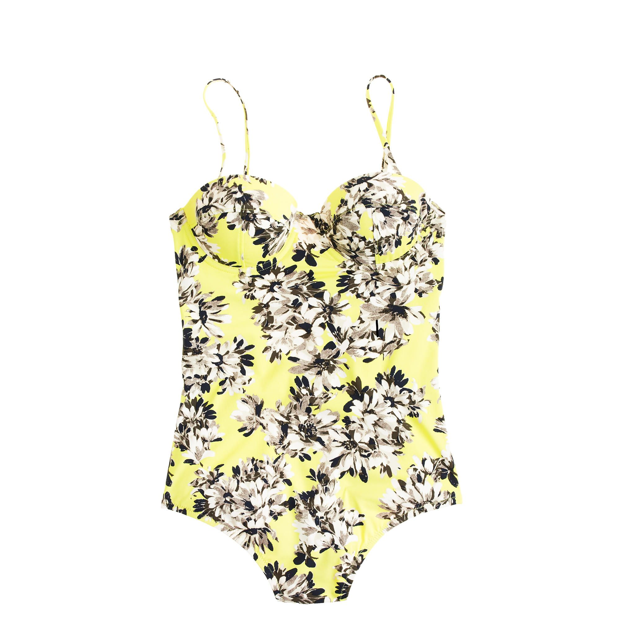 3ede68ff2f7e8 Short torso photo floral underwire one-piece swimsuit : Short Torso | J.Crew