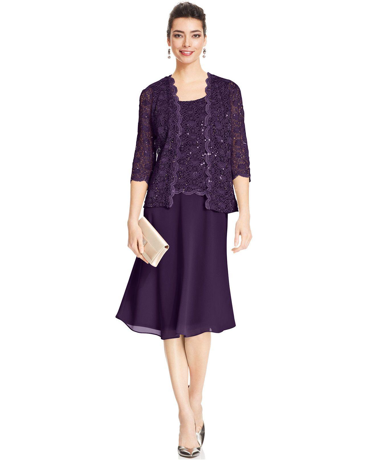 d33cc90a43c R M Richards Petite Sequin Lace Dress and Jacket - Mother of the Bride -  Women - Macy s