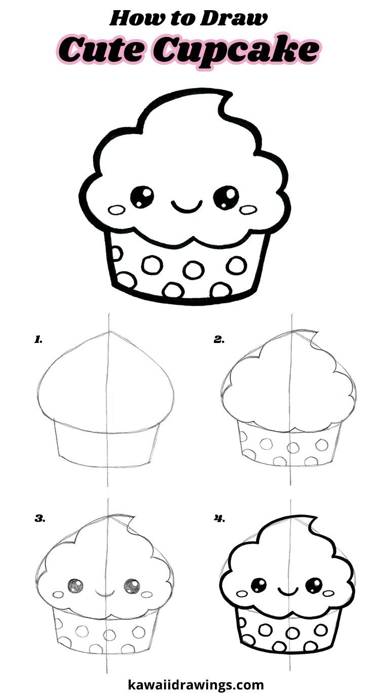 How to draw a cute cupcake, easy drawing tutorial, step-by ...