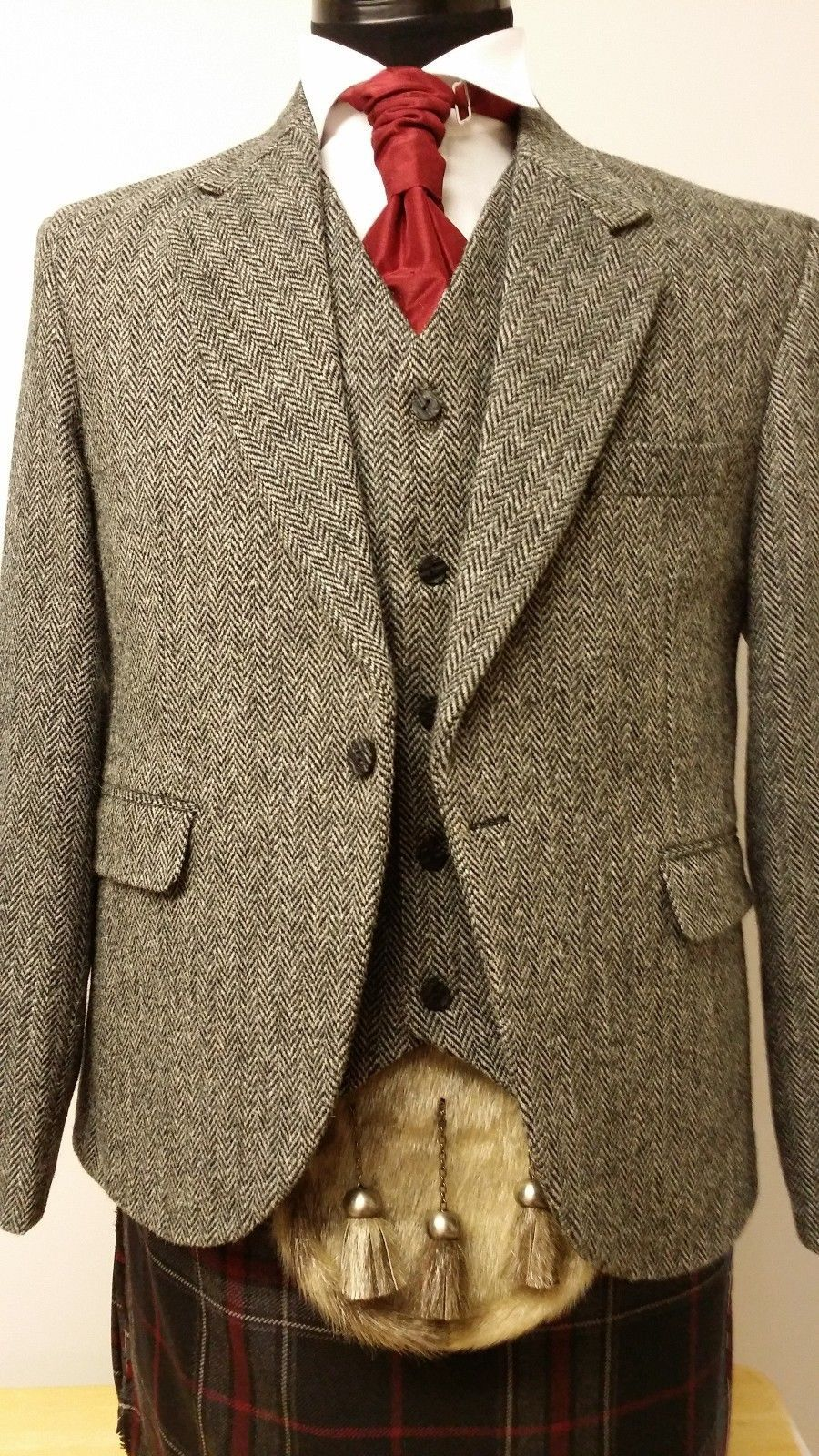 Grey Harris Tweed Laxdale Kilt Jacket Vest Set 100 Wool Jacket Only Vest Only Kilt Jackets Harris Tweed Jacket Tweed Jacket Men