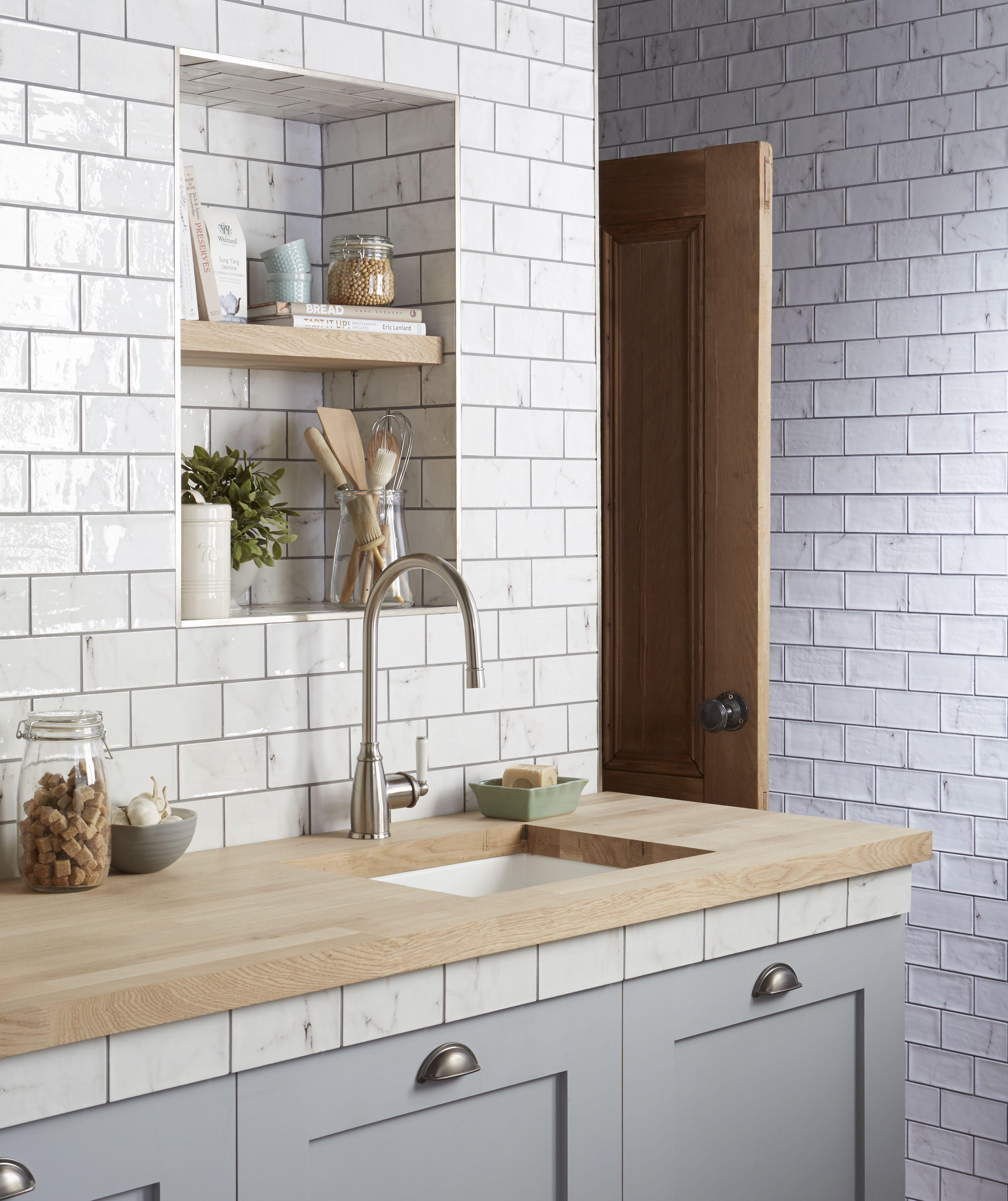Vyne White Gloss Wall Tiles Kitchen tiles, Kitchen wall