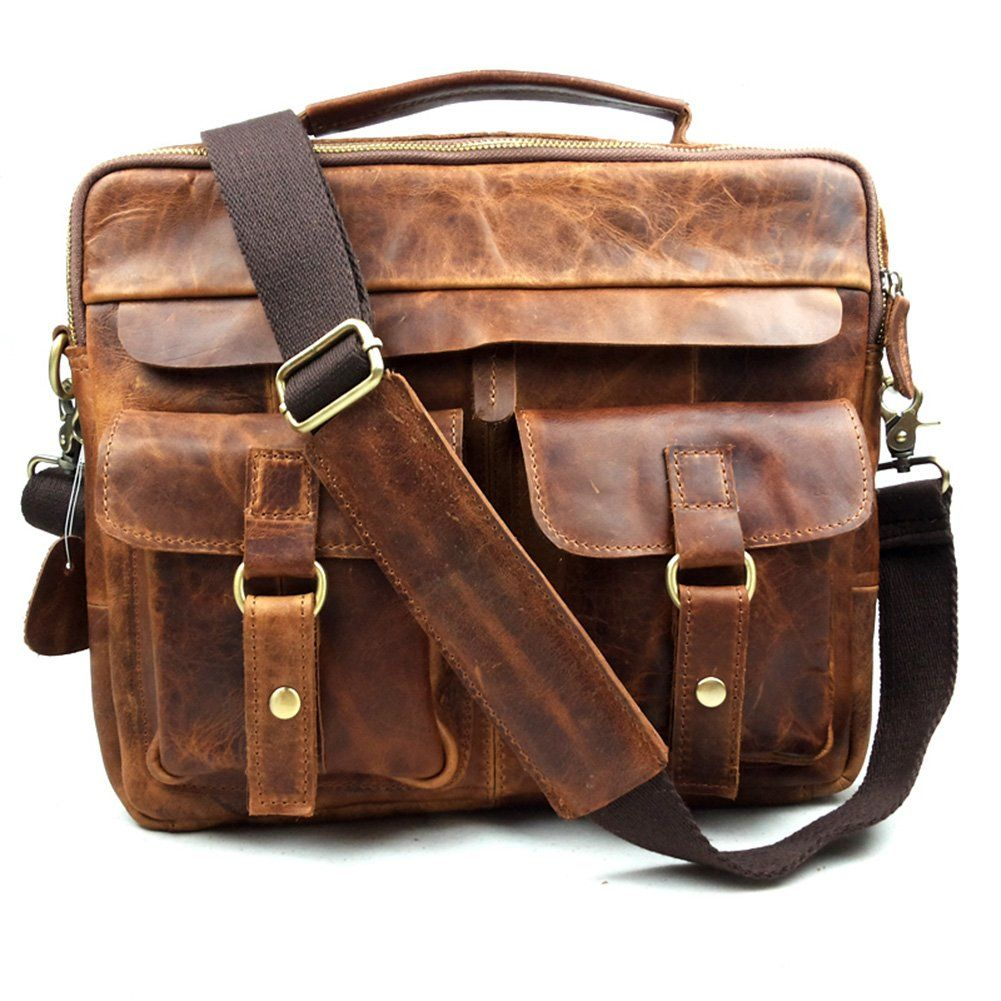 Qiaoyier Men S Vintage Crazy Horse Leather Hanbag Briefcase Shoulder Messenger Bag Co Uk Clothing