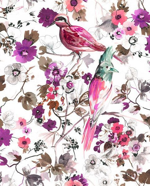 birds and pink lilac flowers printed heavy weight polyester viscose upholstery fabric-Half Yard