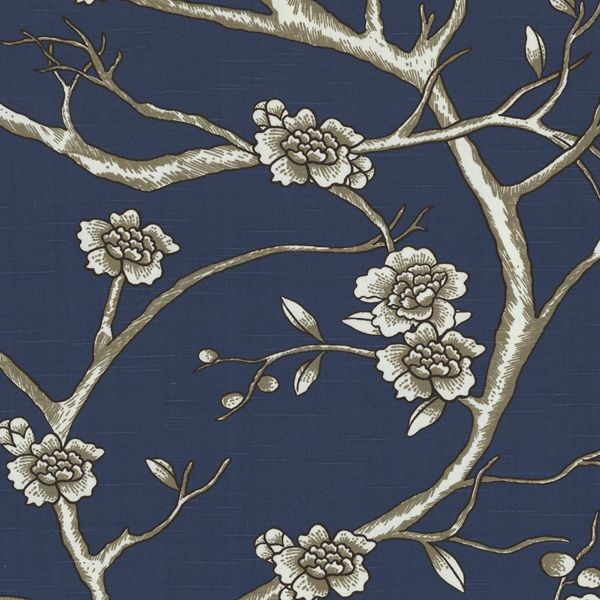 Branch Out This Floral Fabric Has Gray White And Black Flowers Vines And Birds On A Navy Blue Background Grey Floral Wallpaper Grey Wallpaper Fabric Birds