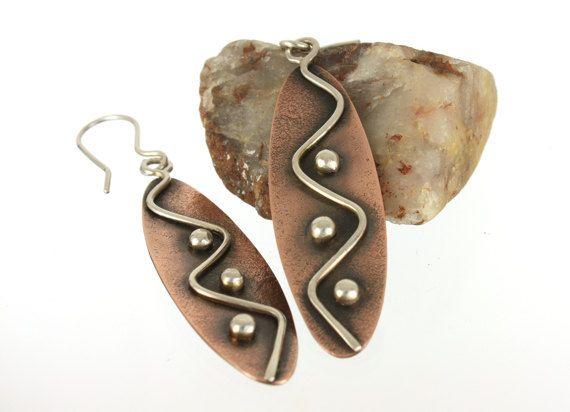 Artisan Tribal Earrings Mixed Metal Copper Sterling Silver