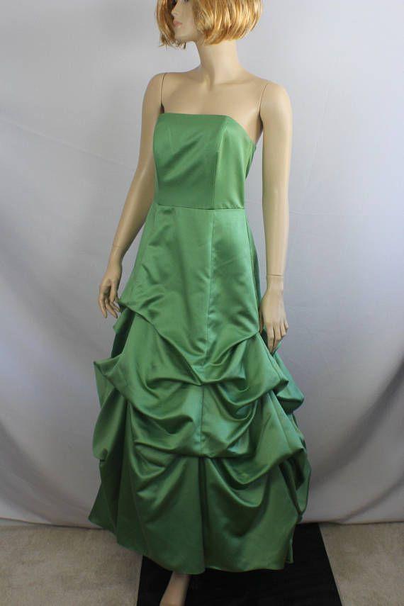 90s prom dress formal green satin dress vintage 1990s ball