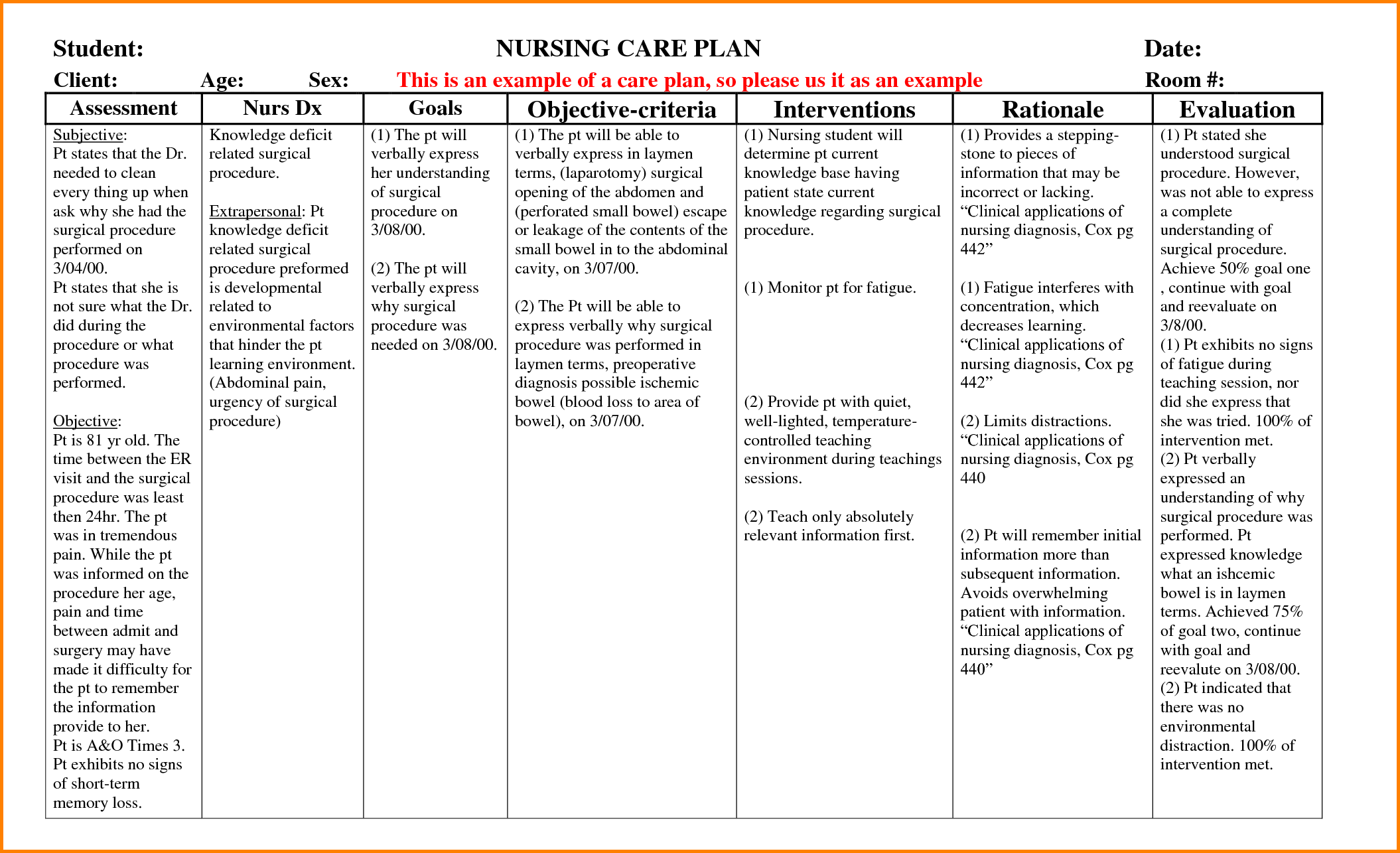8+ nursing care plans examples Nursing care plan