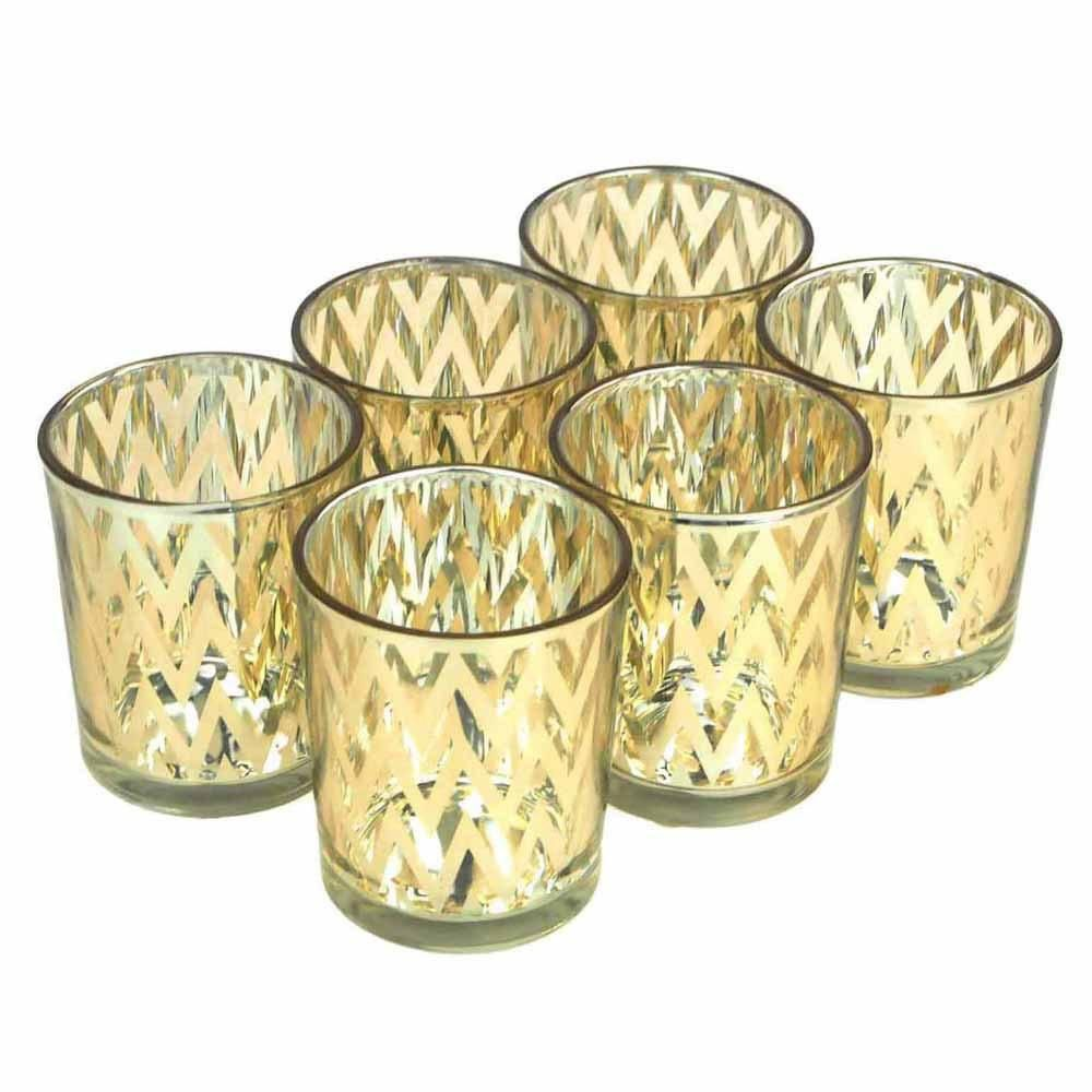 Chevron votive candle holder glass inch piece gold products