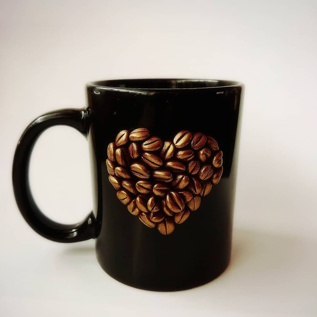 Coffee Beans Heart Mug Decor Handmade