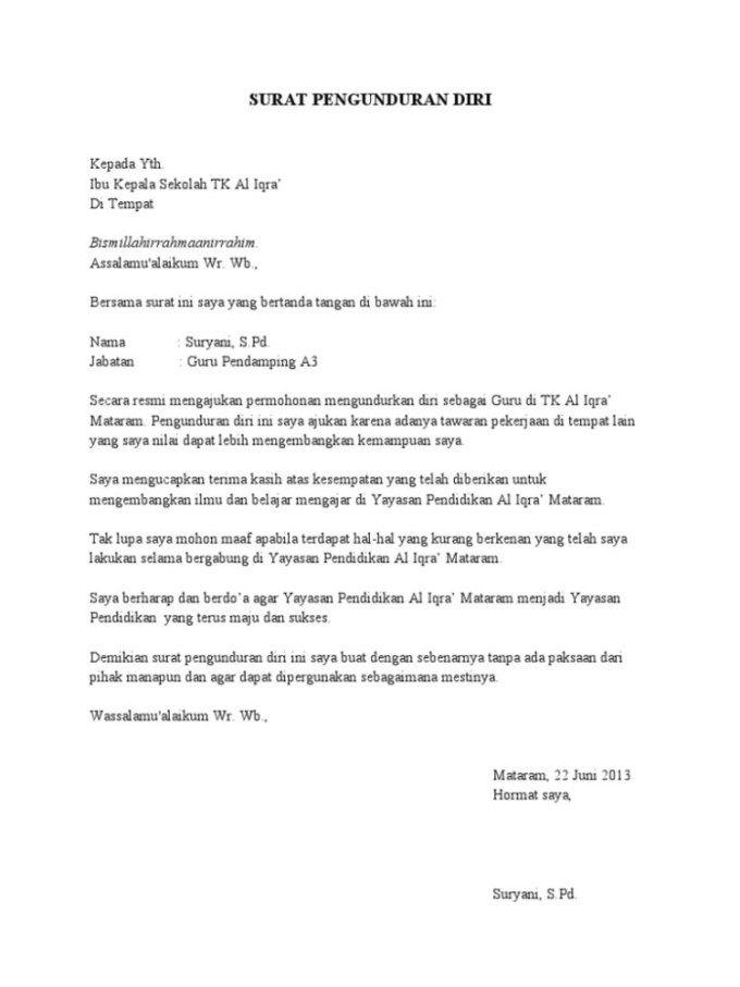 Contoh Surat Resign Simple Word Di 2021 Surat Pengunduran Diri Surat Sekolah