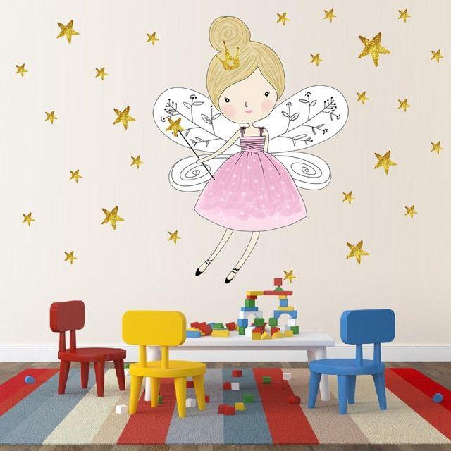 Best Gold Stars Beautiful Fairy Girl Vinyl Wall Sticker For 400 x 300