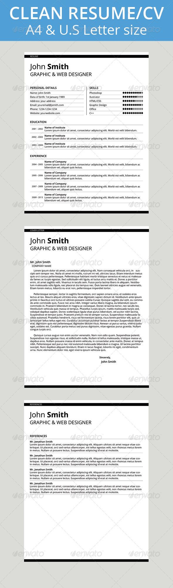 Personal Letter Of Reference Template Clean Resumecv  Resume Cv Resume Cover Letters And Template