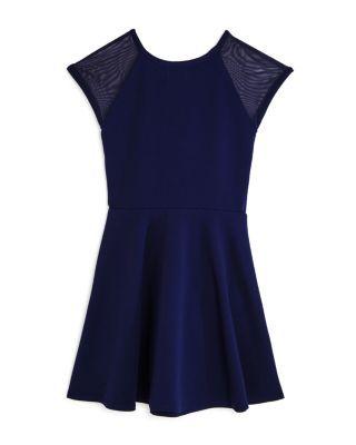Sally Miller Girls' Shea Mesh-Sleeve Dress - Big Kid - Navy #sallymiller