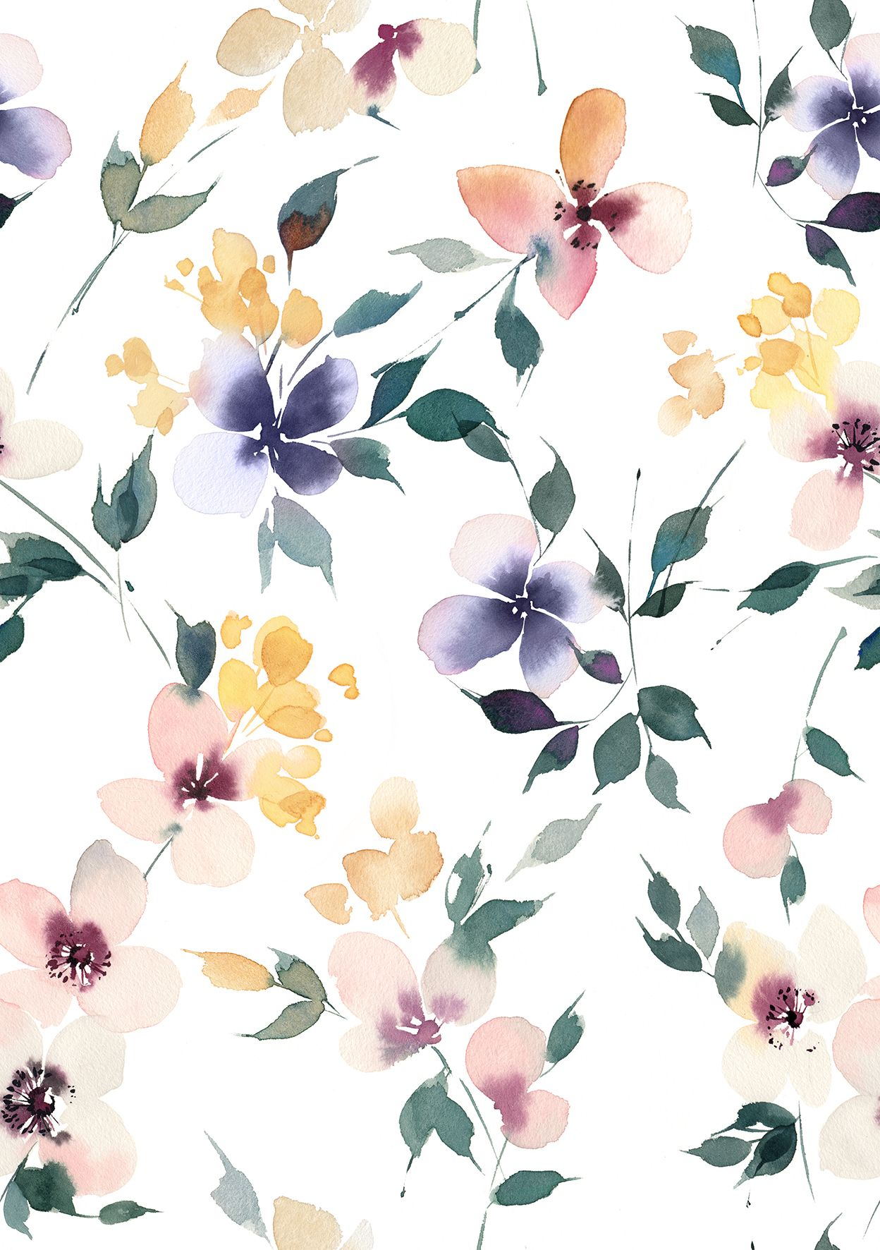Chic Romantic Floral Background Scarf By Lunaisdrawing In 2020 Watercolor Floral Pattern Watercolor Flowers Pattern Flower Background Wallpaper