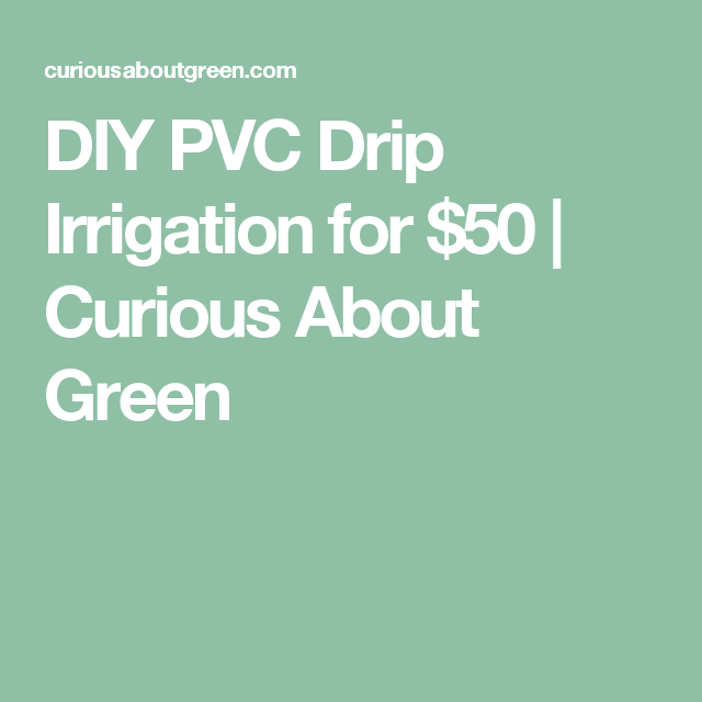 DIY PVC Drip Irrigation for $50 | Curious About Green
