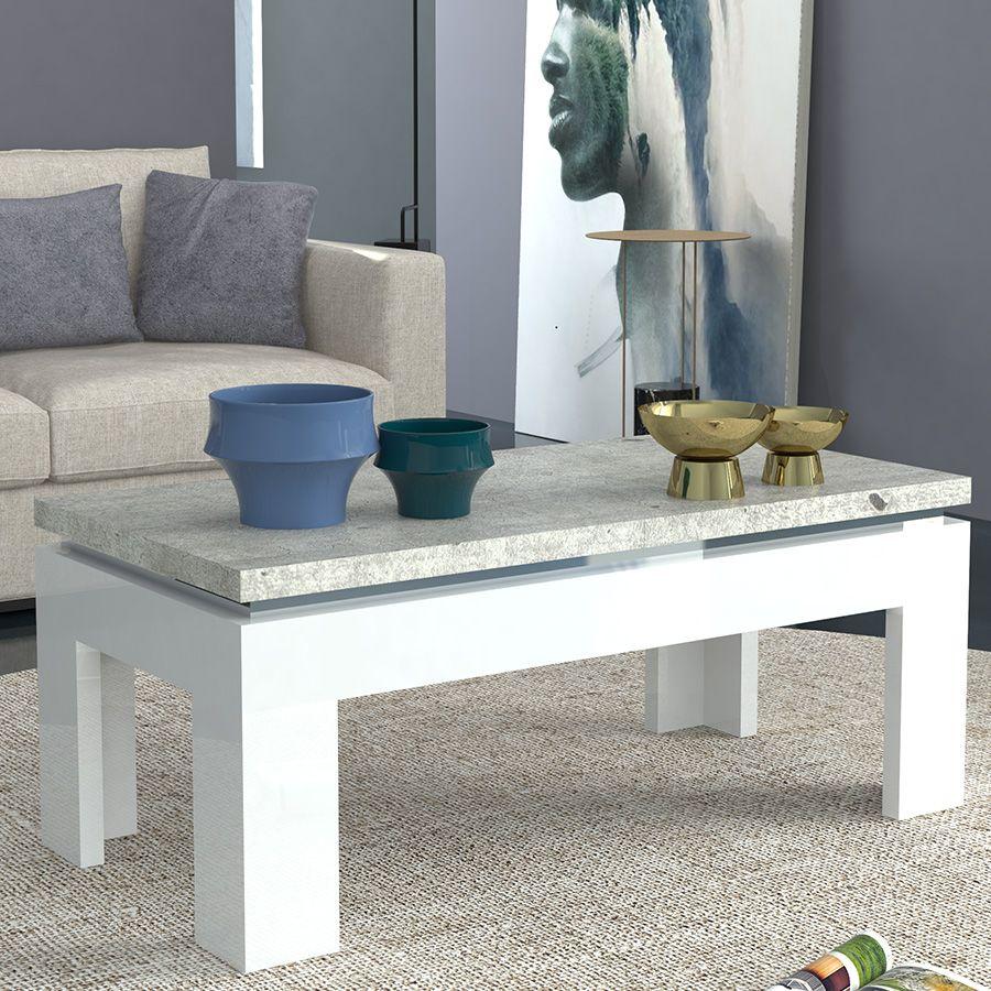 Table basse blanc laqué et effet béton NEMESIS 2 | Table basse ...
